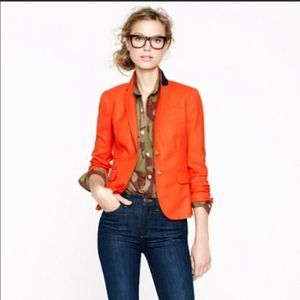 J. CREW Schoolboy Blazer in Wool Flannel Orange